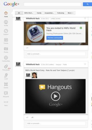 Image of the Google+ Community for the Will's World Hack